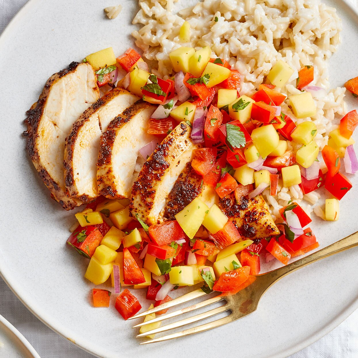 Chicken breast stuffed with mango and peppers recipe