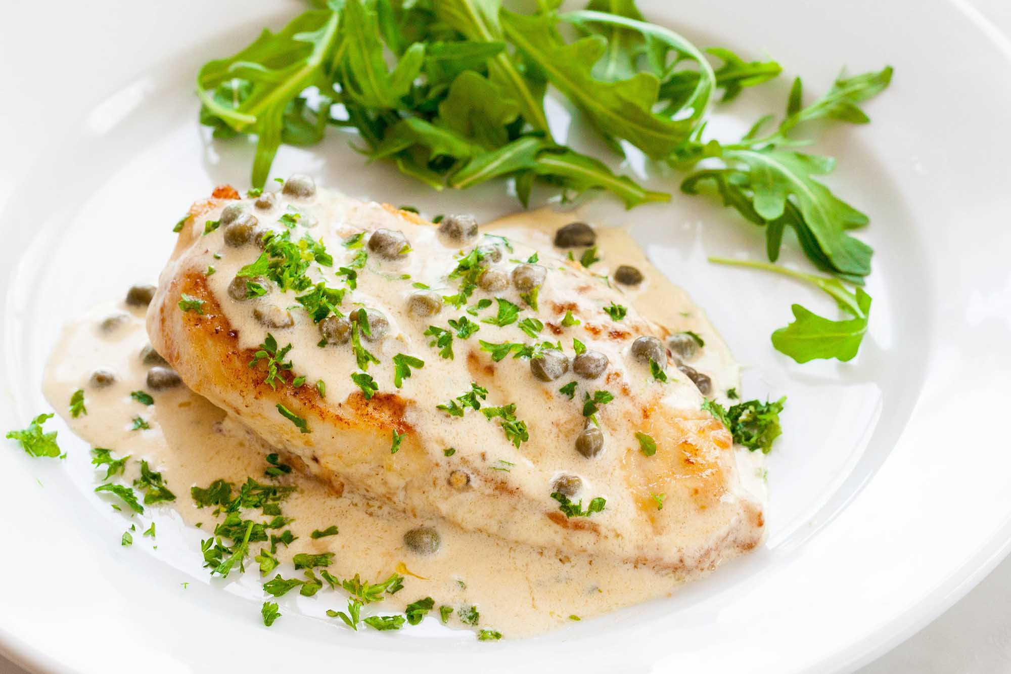 Chicken breasts recipe in green sauce with mustard