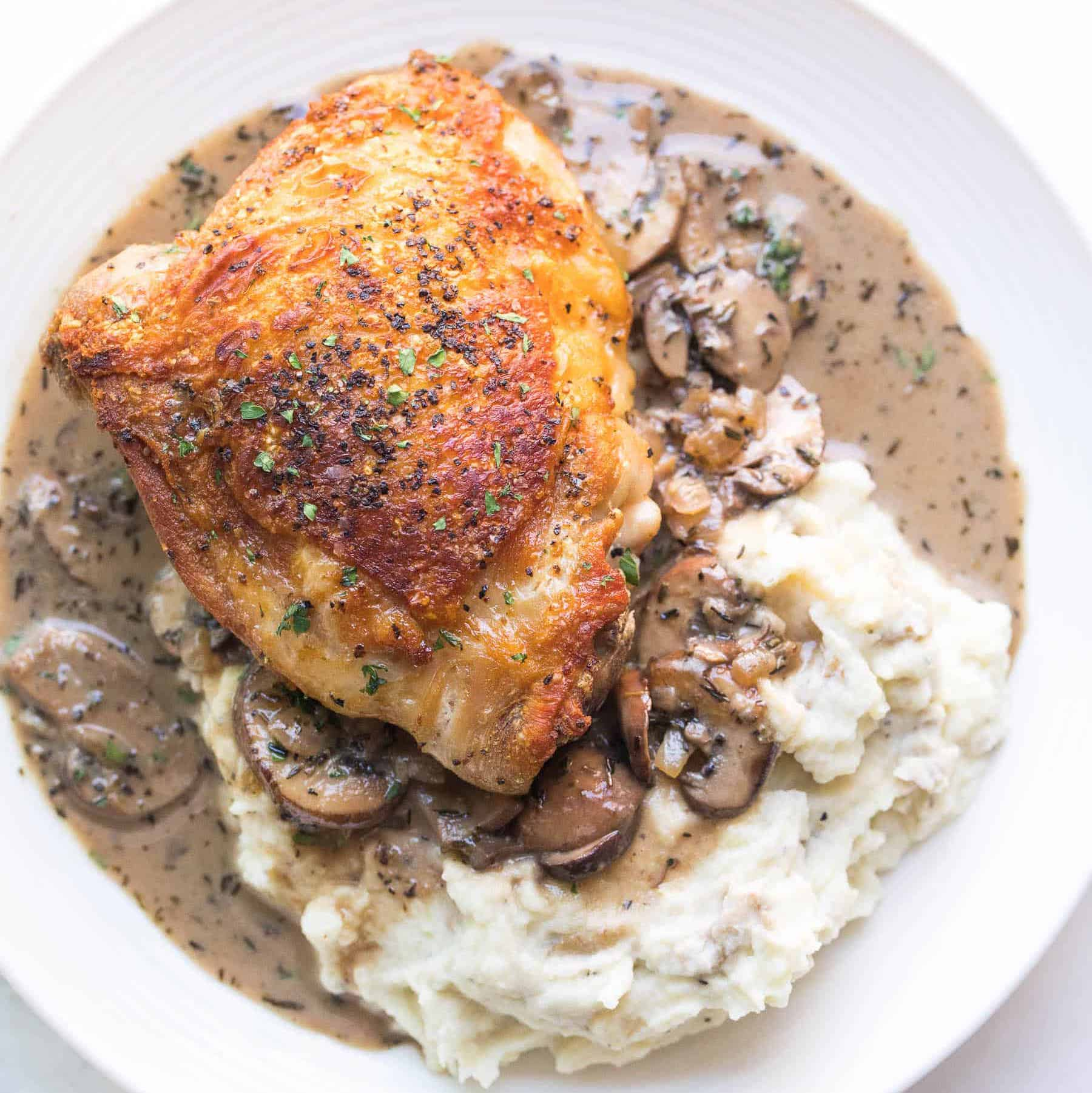 Chicken thighs in sauce with mushrooms recipe