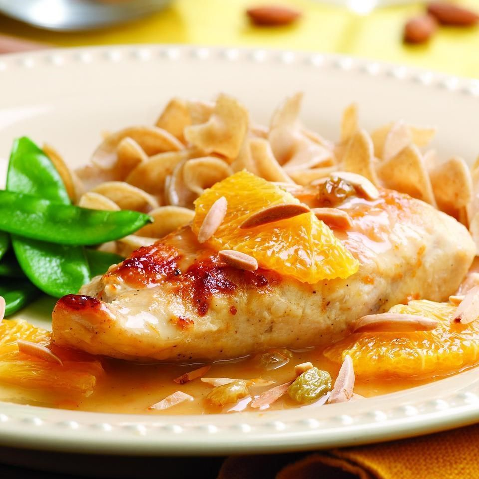 Honey chicken recipe with almonds and cinnamon