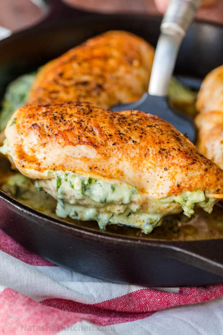 Recipe for breasts stuffed with cream cheese and spinach