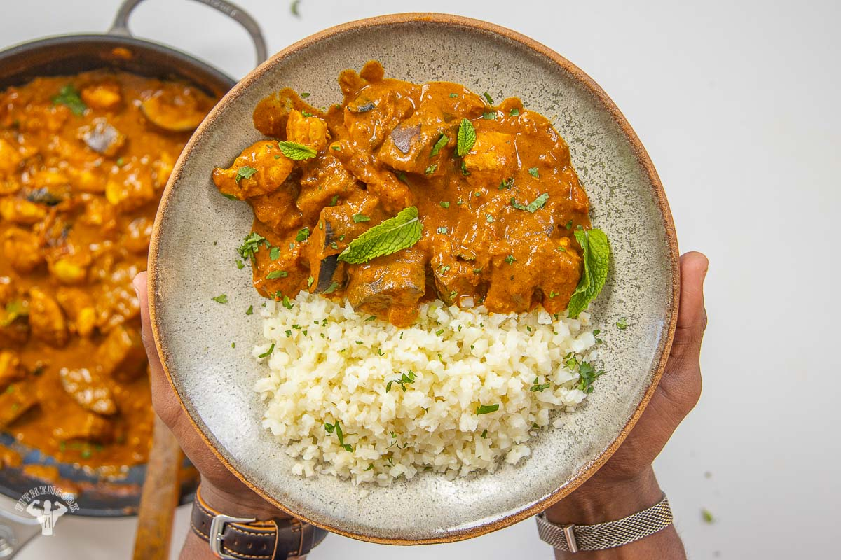 Chicken recipe with curried eggplant